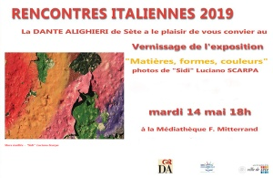 """RENCONTRES ITALIENNES 2019""  Du mardi 14 au samedì 18 mai 2019 Médiathèque  F .Mitterrand - Sète, Francia"